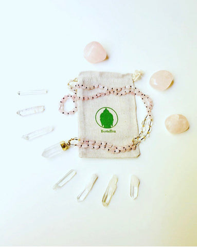 Oblong Rose Quartz & Clear Crystal Quartz Natural Stone Mala Beads Necklace with Crystal Chunk Pendant