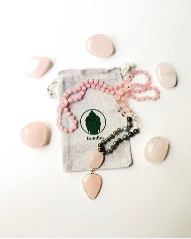 Double Stone Rose Quartz Pendant Necklace with Labradorite, Clear Crystal Quartz, and Rose Quartz Natural Stone Mala Beads