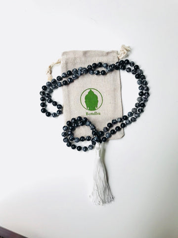 Snowflake Obsidian Stone Mala Bead Necklace with White Tassel for Meditation, Yoga