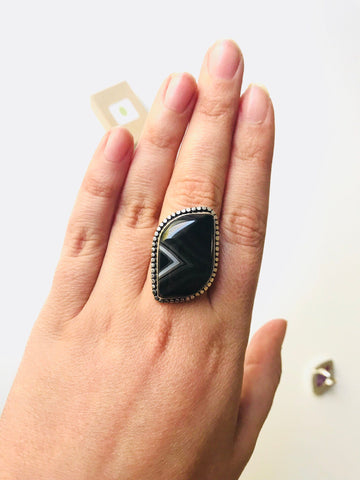Black Botswana Agate Ring, Sterling Silver