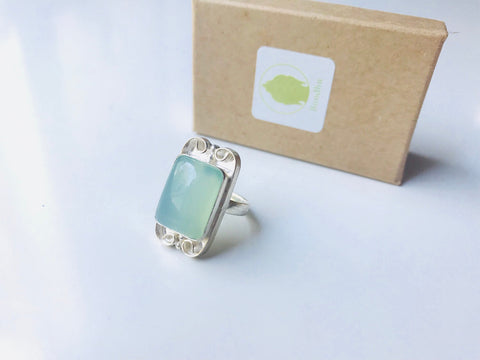Blue Aqua Chalcedony Ring, Sterling Silver
