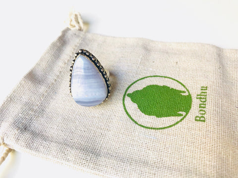 Blue Lace Agate Teardrop Ring, Sterling Silver