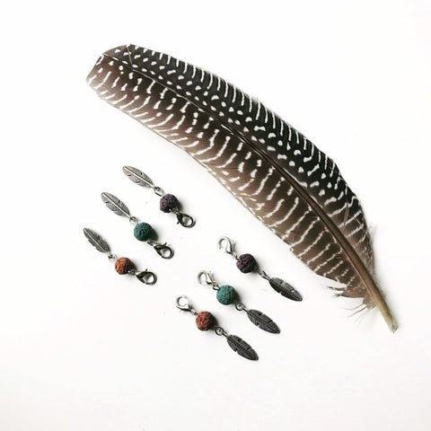 Aromatherapy Diffusing Lava Stone & Feather Detachable Charms