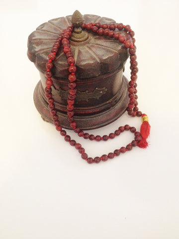 Rose Wood Mala Bead Necklace with Tassel for Meditation and Yoga