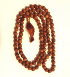 Sandalwood Mala Bead Necklace with Tassel, for Meditation, Yoga, Prayer, Statement Necklace