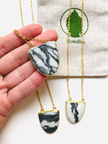 Zebra Jasper Stone Gold Necklace, Black & White Grounding Crystal
