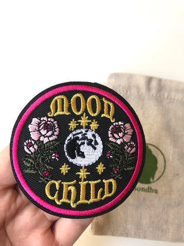 Moon Child Flower Boho Iron on Clothing Patch