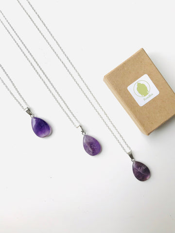 Purple Amethyst Crystal Quartz Teardrop Necklace, Sterling Silver 925