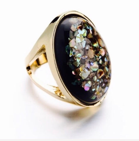 Crushed Abalone Shell Resin Statement Gold Ring