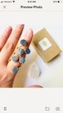 Blue Grey Druzy Crystal Spiral Ring, 24K Gold Two Stone Setting
