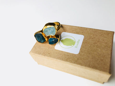 Raw Blue Apatite & Aqua Chalcedony Triple Stone 24K Gold Ring