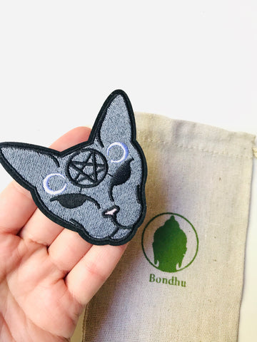 Witchy Moon Cat Iron on Clothing Patch