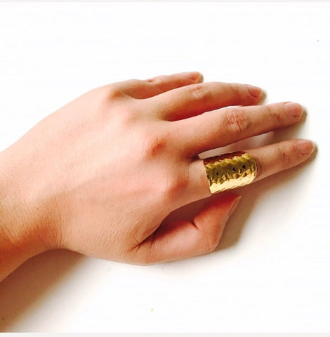 Hammered Gold Minimalist Statement Ring 24K GP Brass