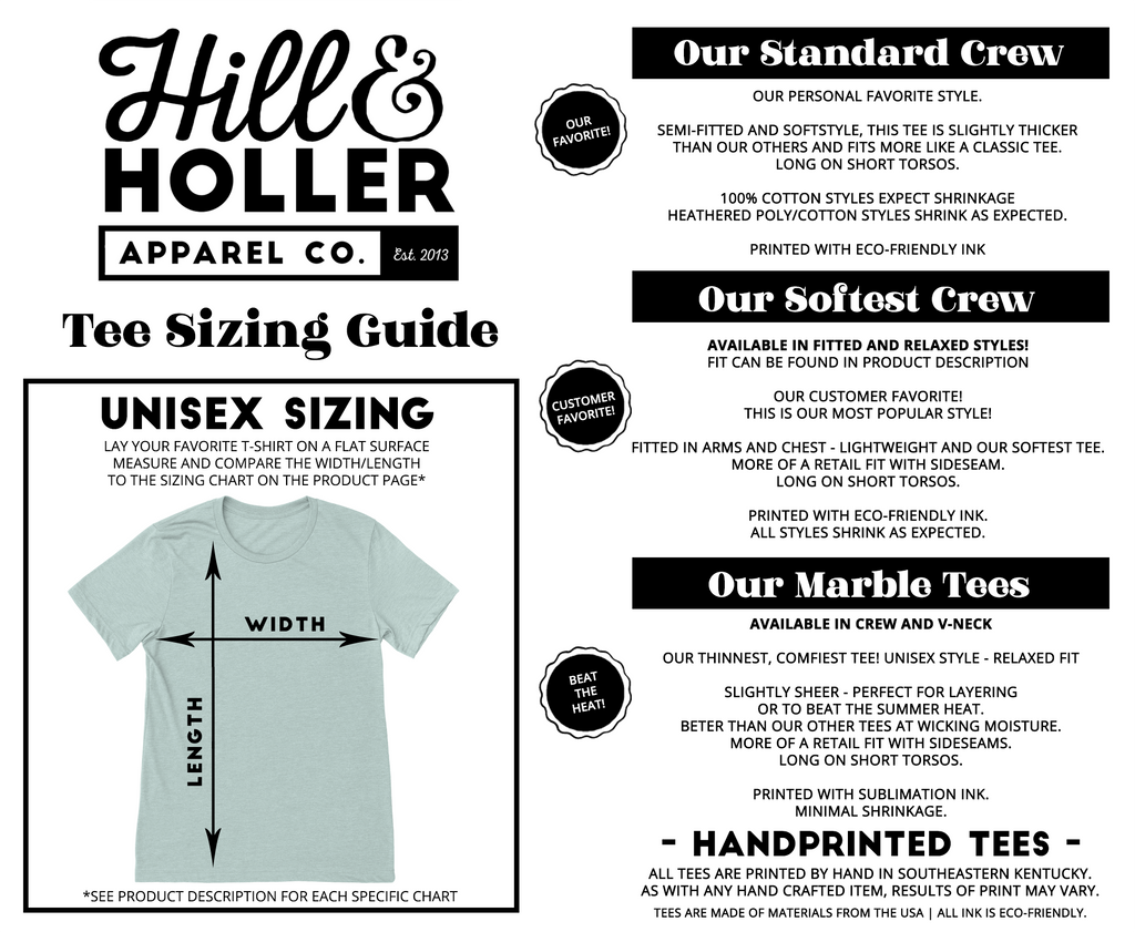 Hill and holler sizing chart.