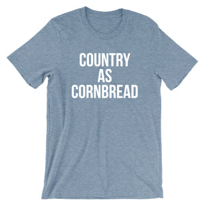 slate blue heather tee with vintage distressed print with the words Country As Cornbread.