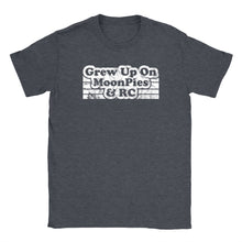Standard crew cut shirt in dark grey heather printed with the words Grew up on Moonpies and RC.
