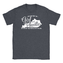 Standard crew cut shirt in dark grey heather with the shape of Kentucky printed on the front and the words You can take the girl out of Pikeville but you can't take Pikeville out of the girl.