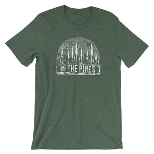 Forest heather tee with vintage distressed print with the words In the Pines.