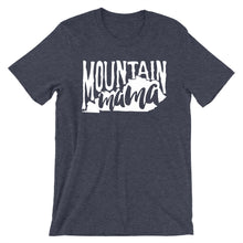 Navy heather tee with vintage distressed print with the words Mountain Mama.