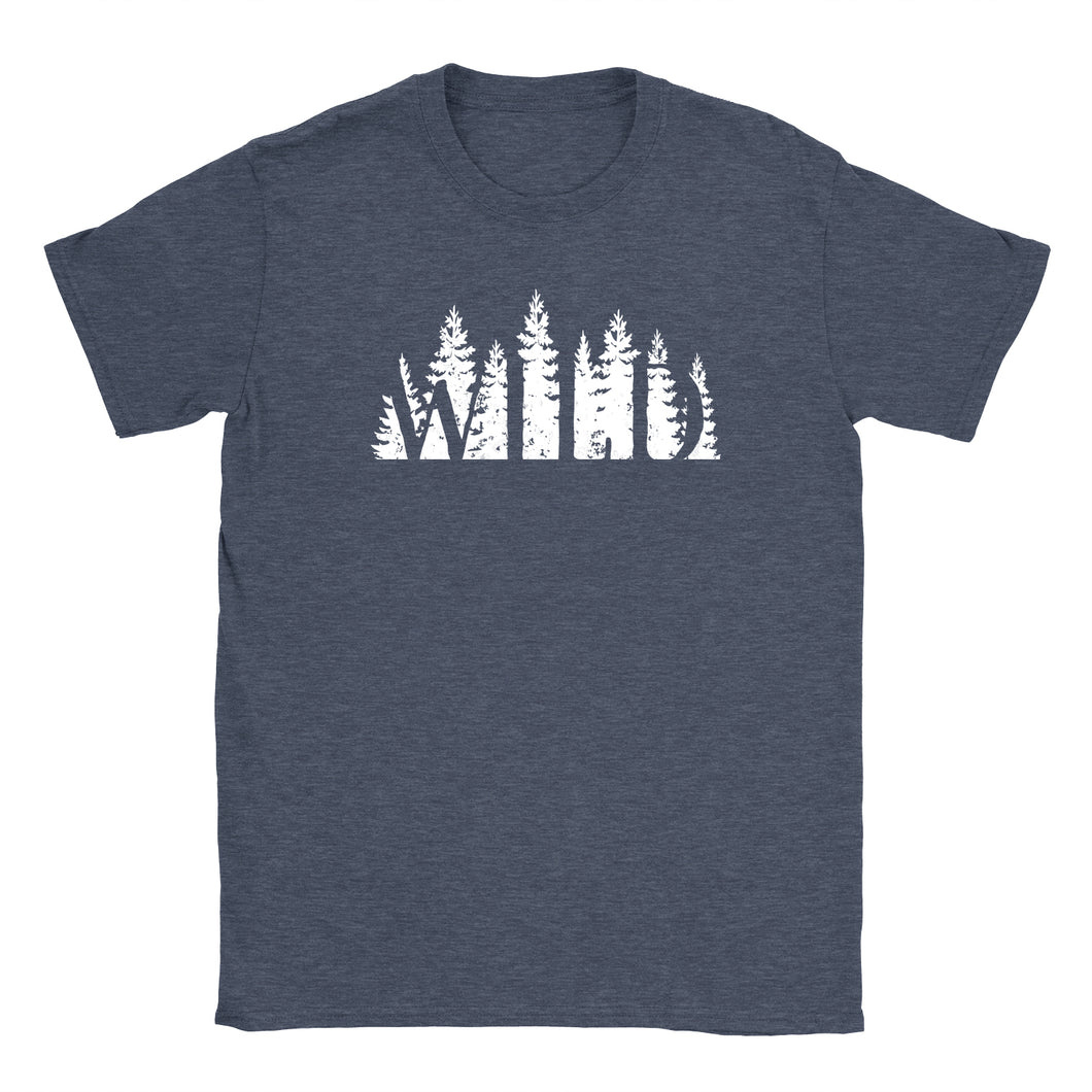 Standard crew cut shirt in navy heather printed with the words WILD.