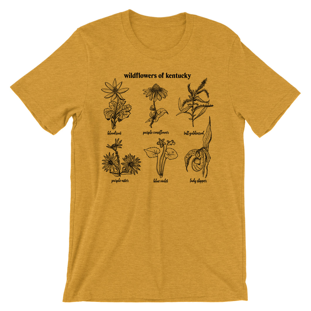 mustard heather tee with vintage distressed print with images of Kentucky wild flowers