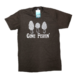 Standard crew cut shirt in military green heather with images of Morels and the words Gone Fishin printed on the front.