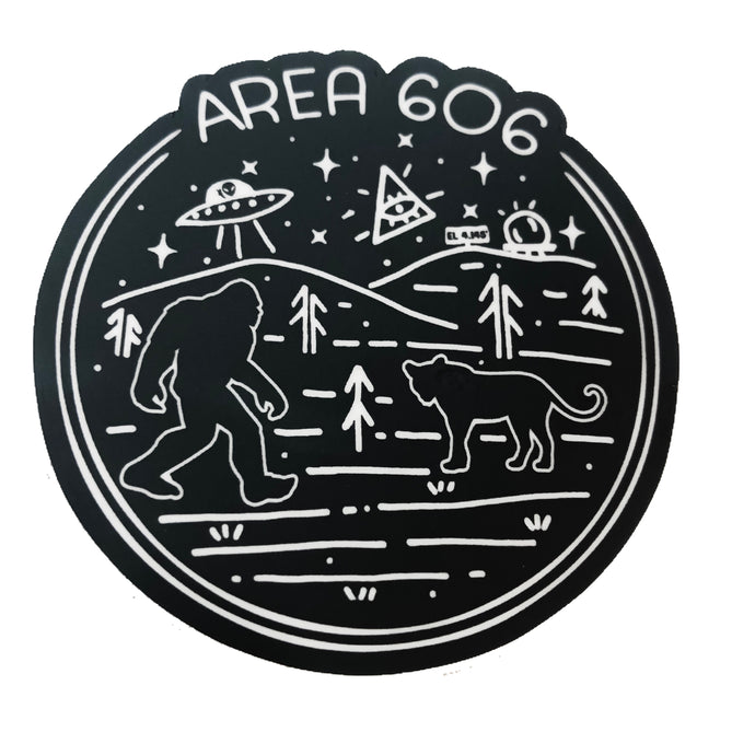 Black area 606 eastern kentucky conspiracy sticker. Images of bigfoot, aliens, black panther, area code 606, and black mountain.