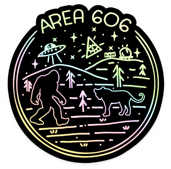 Holographic area 606 eastern kentucky conspiracy sticker. Images of bigfoot, aliens, black panther, area code 606, and black mountain.