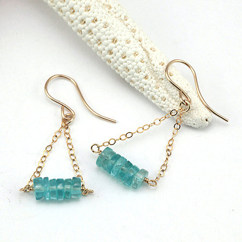 aqua bar gold earrings