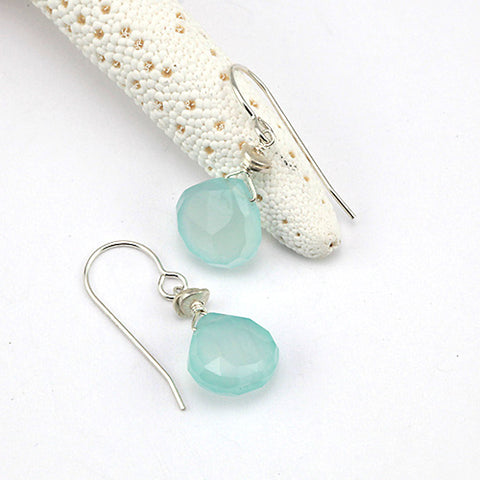 chalcedony heart earrings