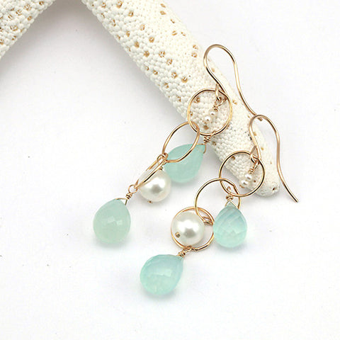 chalcedony white pearl long earring