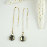pyrite threader earrings