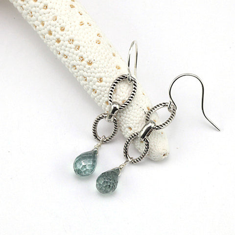 mystic green quartz drop earrings