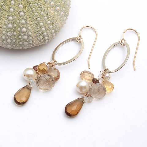 sand dune cluster oval earrings