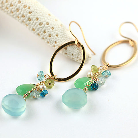 seascape ovals earrings