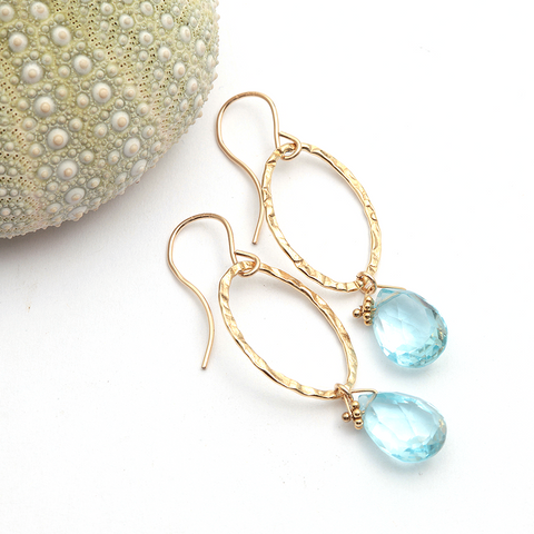 hammered links and blue topaz earrings