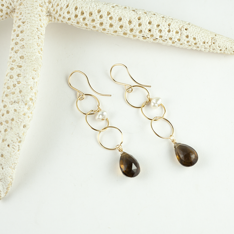 whiskey quartz keshi pearl earrings