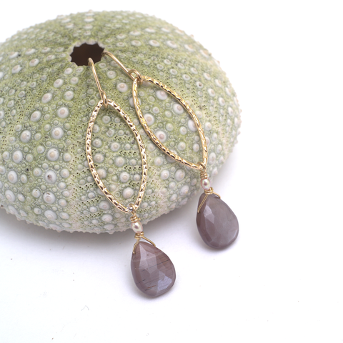 chocolate moonstone drops earrings