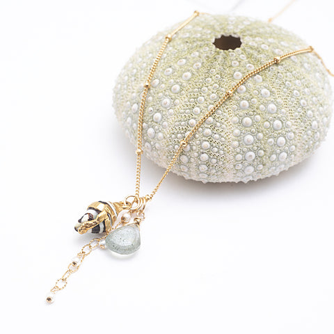 shell moss aquamarine freshwater pearl necklace
