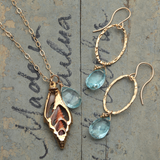 sliced shell and blue topaz necklace