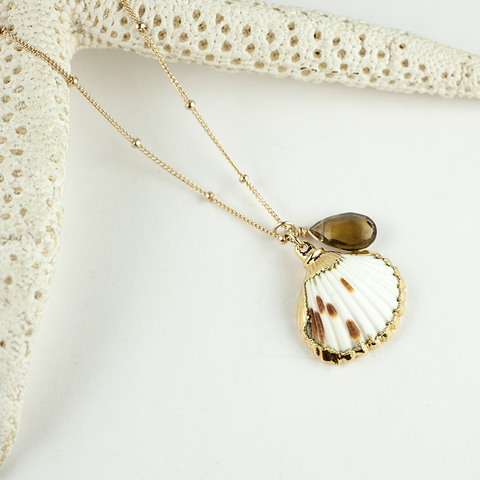 scallop whiskey quartz necklace