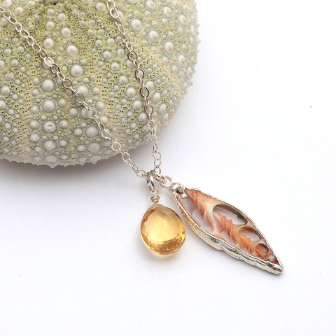 sliced shell & citrine necklace