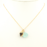 bumble bee & chalcedony necklace