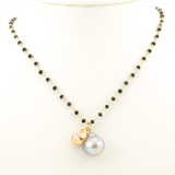 black garnet gold puka silver pearl necklace