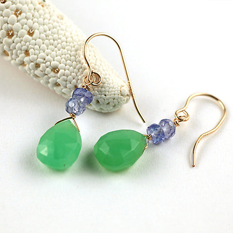 chrysoprase & tanzanite earrings