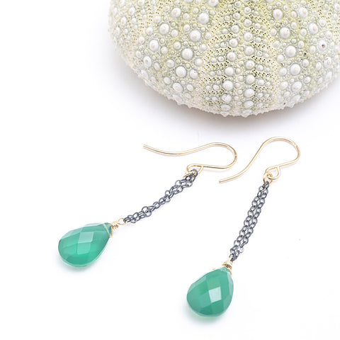 green onyx oxidized earrings