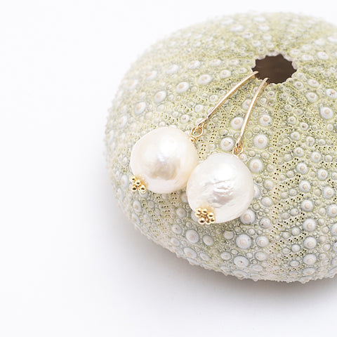 white edison pearl drops earrings