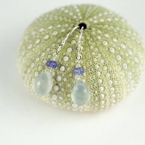 holly chalcedony tanzanite earrings