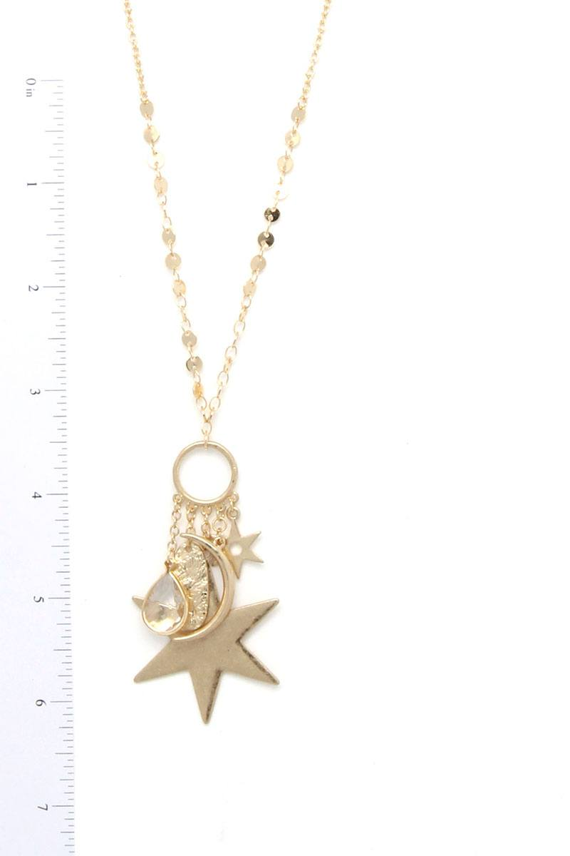 Moon Star Charm Dangle Pendant Necklace