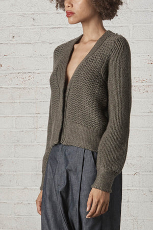 Isle of Mann Cashmere Cardigan Army